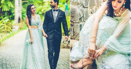 Minimalist Engagement Party With A Dusty Blue Lehenga