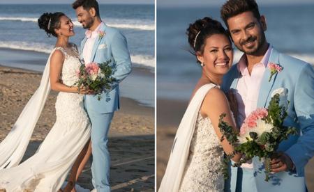 Celeb Couple Keith & Rochelle Had a Dreamy Beach Wedding & The Photos Are Adorable!