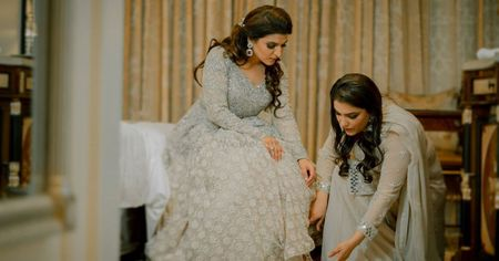 Glam Evening Engagement In Delhi With A Bride In Shimmery White!