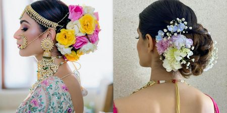 Add Vividness To Your Intimate Wedding With These Colorful Floral Buns