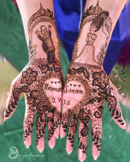 This Bride & Her Fam All Got Simpsons Characters In Their Mehendi & We Love It!