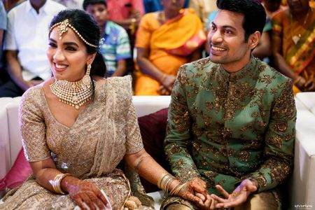 Stunning & Gorgeous Chennai Engagement With A Bride In Custom Outfits