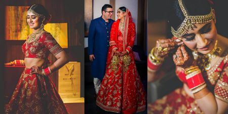 An Elegant Delhi Wedding With A Bride In A Ravishing Red Lehenga