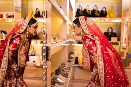 This Bride Dealt With Her Baraat Delay By Shopping At Jimmy Choo!
