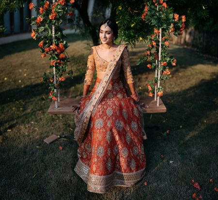 A Gorgeous Dusk Wedding With Stunning Decor A Bride In An Orange & Peach Lehenga