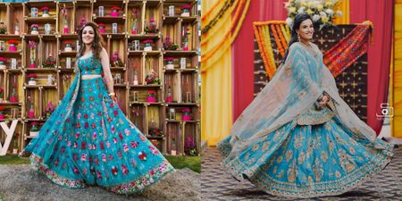More & More Brides Are Wearing Blue On Their Mehendi, & We Think It Looks Fab!