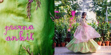 A Stunning Delhi Wedding & A Mehendi Lehenga With Bride & Groom's Name Embriodered On It