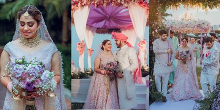 A Pretty Dusk Wedding With The Bride In A Gorgeous Lavender Lehenga