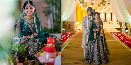 An Ethereal Bangalore Wedding With A Bride In An Emerald Green Wedding Lehenga!