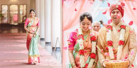 A Gorgeous Day Wedding With The Bride In An Offbeat Hued Silk Saree