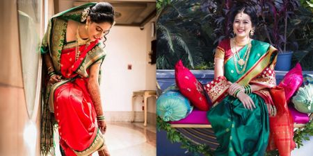 Lovely Nauvari Sarees On Maharashtrian Brides That We Loved!