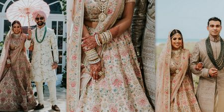 A Beach Side Wedding With The Bride In A Ravishing Floral Lehenga