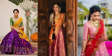 The Most Gorgeous South Indian Lehenga Saree Designs We Spotted!