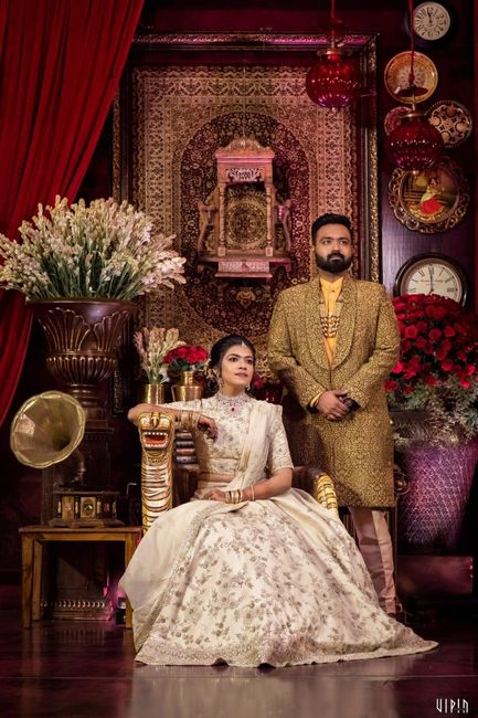 Chennai Engagement With A Customised Kanchipuram & Sabyasachi Inspired Decor