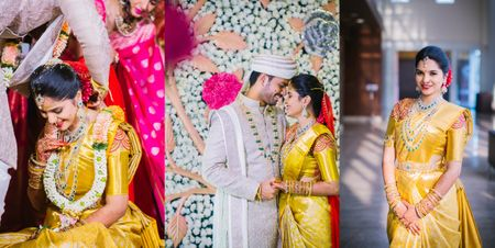 A Traditional Wedding With The Bride In A Gold Kanjeevaram And Stunning Diamond Jewellery