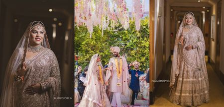 Intimate Delhi Wedding With Floral Decor & A Couple In Pastels