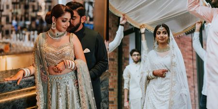A Modern Wedding With The Bride In A Minimal White Lehenga