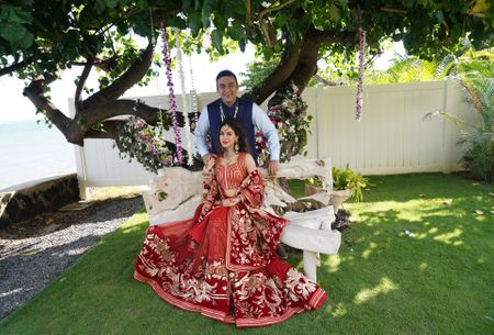 An Intimate Beach Destination Wedding With A Bride In Red