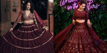 Brides That Picked Wine Coloured Lehengas For Their Wedding Soirees!