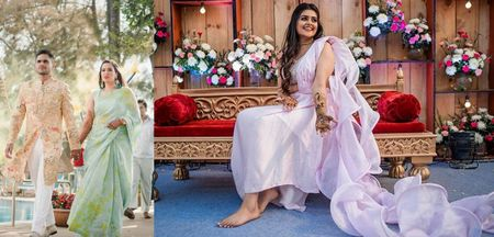 The Freshest and Most Fun Mehendi Sarees We Spotted On Brides!