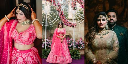 Glamorous Delhi Wedding With A Candy Pink Mehendi & Sharara With A Train!