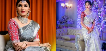 Silver And Grey Sarees For Intimate Home Functions
