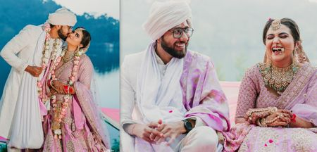A Hillside Wedding With Gorgeous Lavender Lehenga