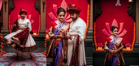 Royally Elegant Maharashtrian Wedding With Stunning Couple Outfits