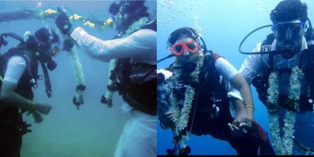 Literally Taking The Plunge! This Indian Couple Dived Underwater To Get Married!
