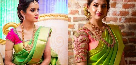 Best Blouse Colors For Green Kanjeevarams