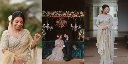 Classy Kerala Wedding With The Bride In An Elegant Pastel Sabyasachi Saree