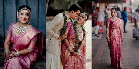 Intimate Coronial Wedding With The Bride In A Pretty Onion Pink Kanjeevaram