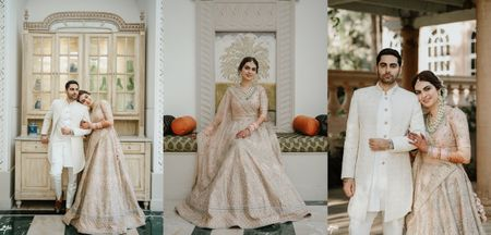 An Intimate Wedding With A Pretty Bridal Lehenga In Blush Pink