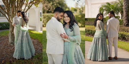 Intimate Florida Engagement With A Refreshing Mint Green Lehenga
