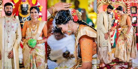 Intimate Home Wedding With A Bride Who Wore Unique Ivory Sarees