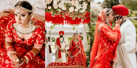 Beautiful Canada Anand Karaj With A Traditional Red Sabyasachi Bride