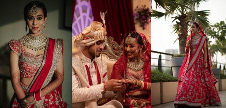 Minimal Delhi Wedding With A Gorgeous Amaranth Red Lehenga