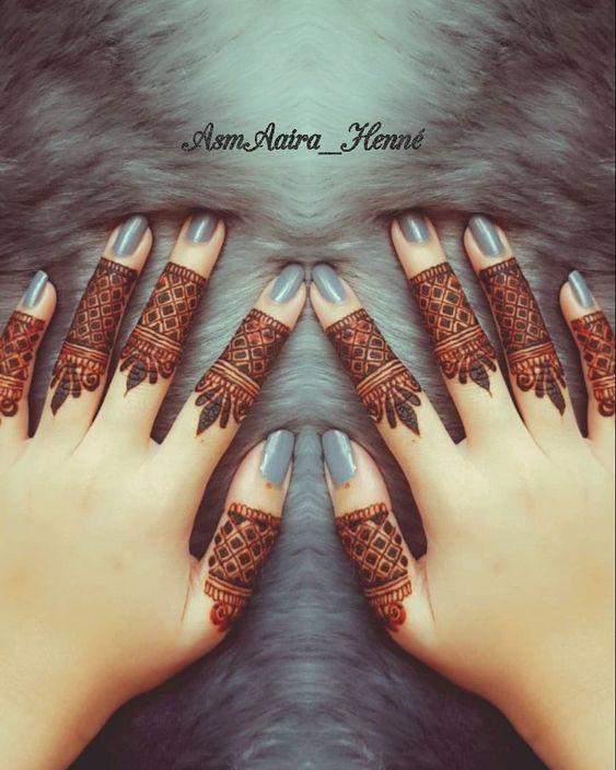 finger mehndi designs arabic