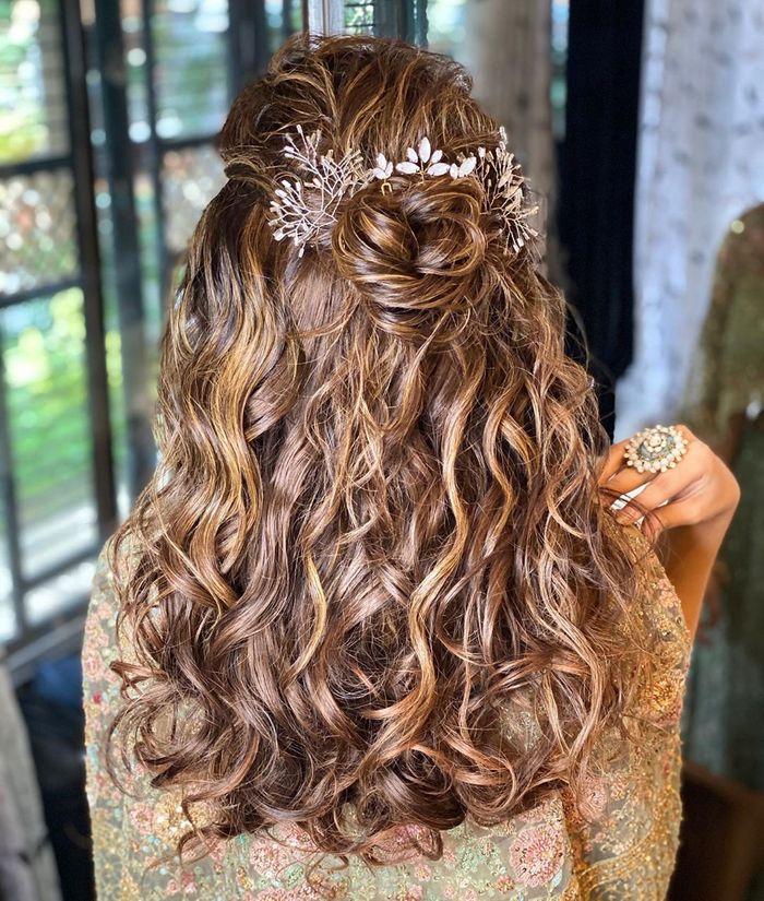 Easy Half Updo Hairstyles For That Dreamy Mehndi Look Wedmegood