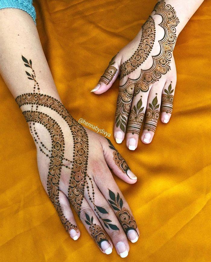 stylish back hand mehndi designs