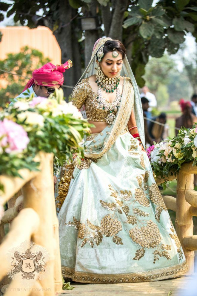 02d527d5dbf79 This bride s tiffany blue bridal lehenga which is so unique!
