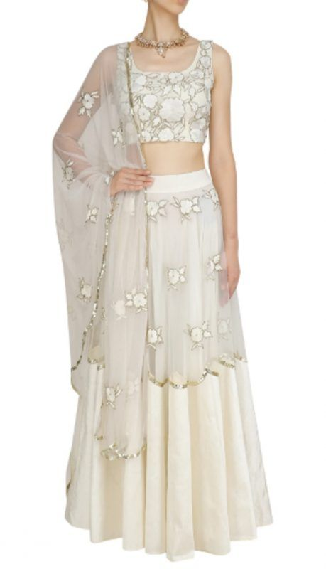 2e31d09f5e23ca We are loving the mesh base lehenga with floral work. That dusky pink off  shoulder gown with ivory floral embroidery with a scalloped edge dupatta ...