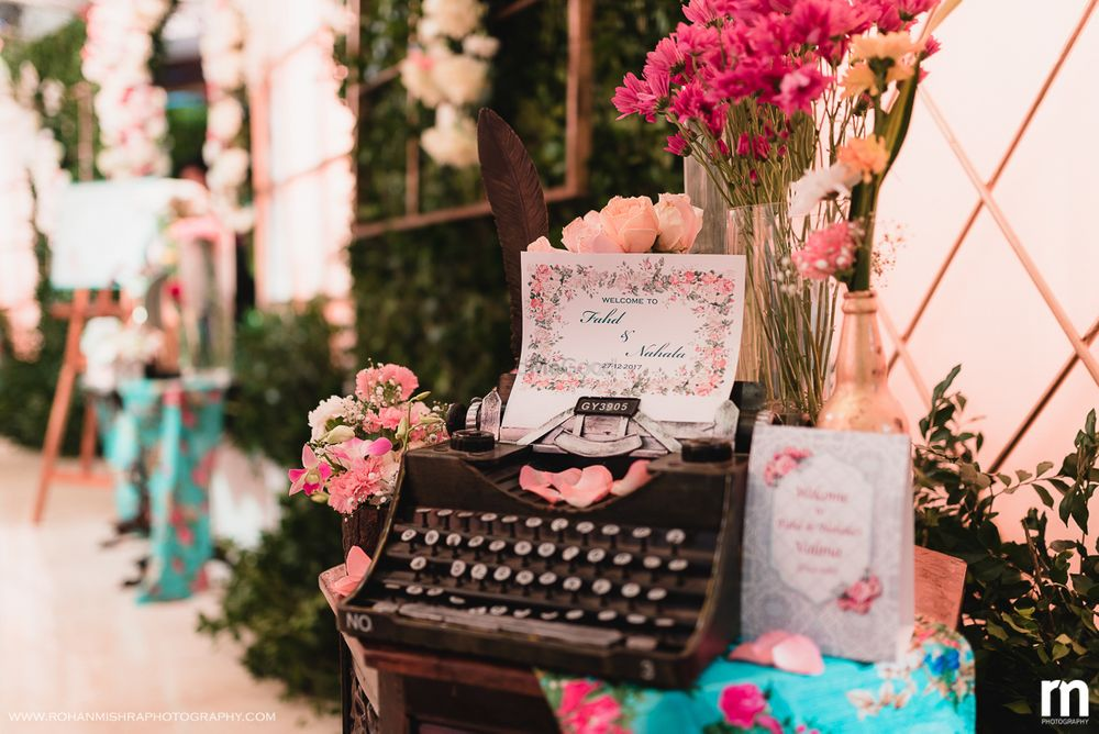 Photo of Unique vintage typewriter for guests to leave notes for the couple