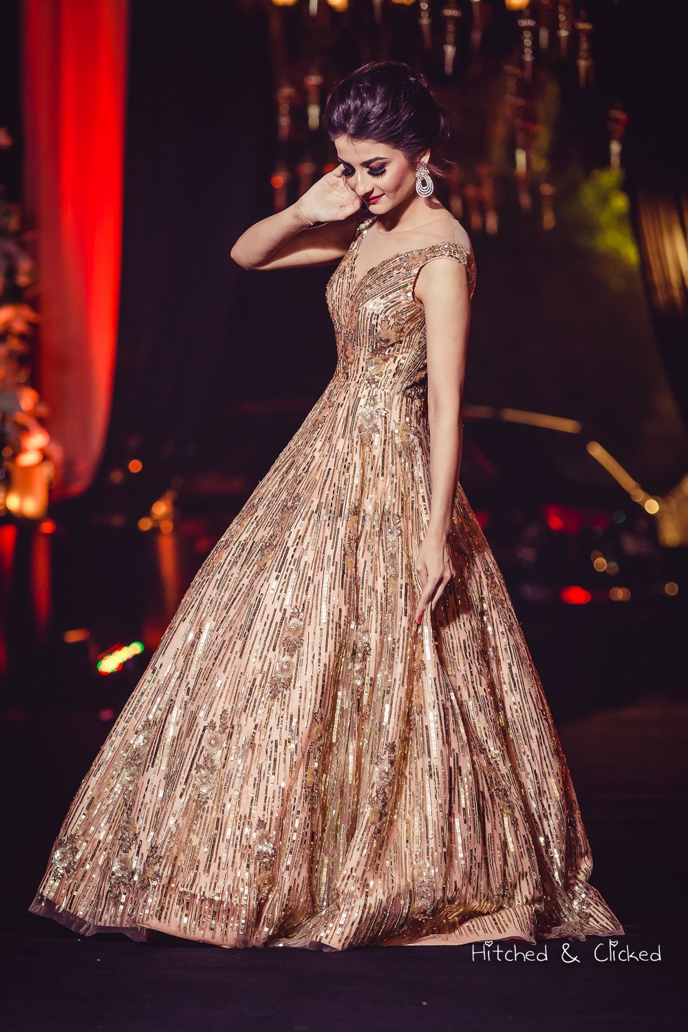 Photo of Gold sleeveless cocktail gown