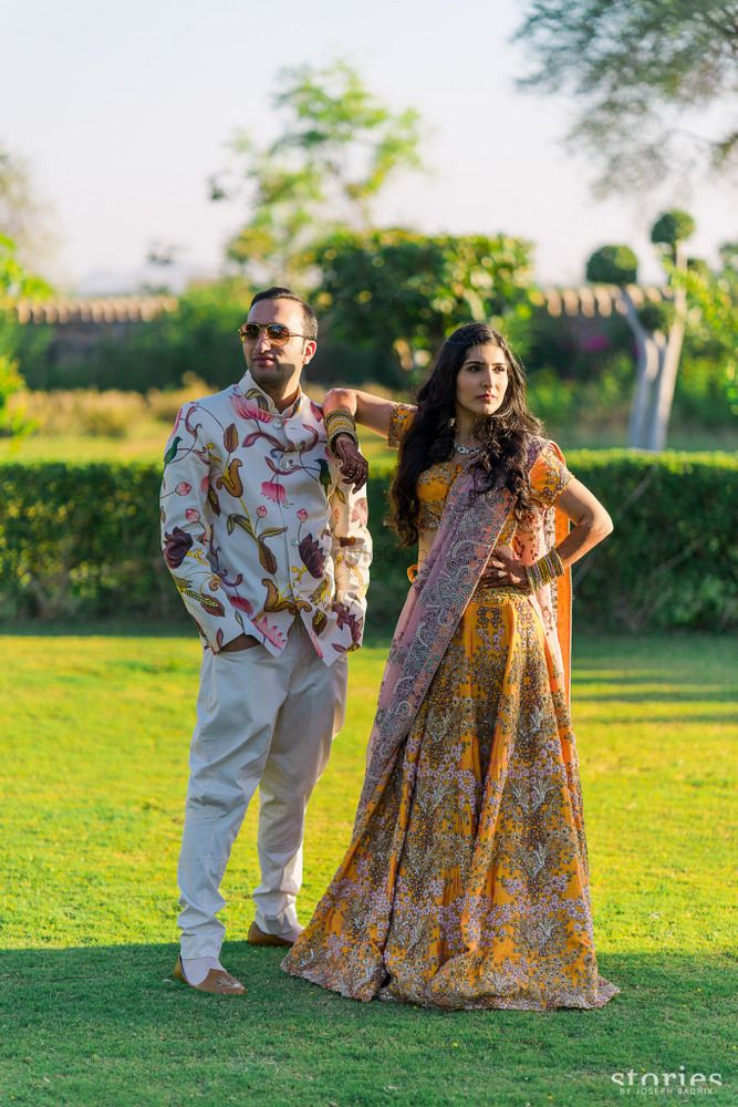 Photo of Indian bride and groom in engagement