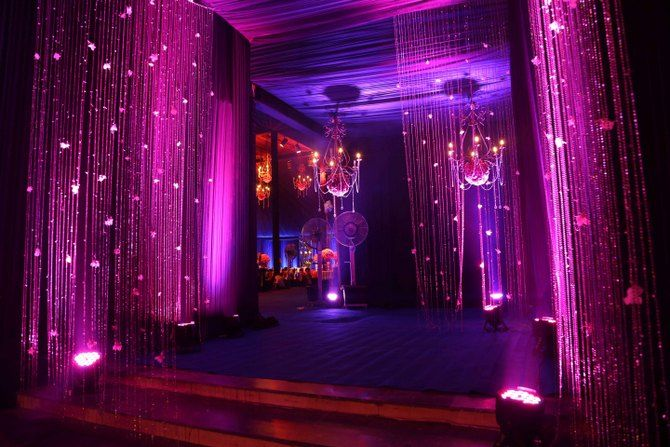 Photo of purple entrance decor