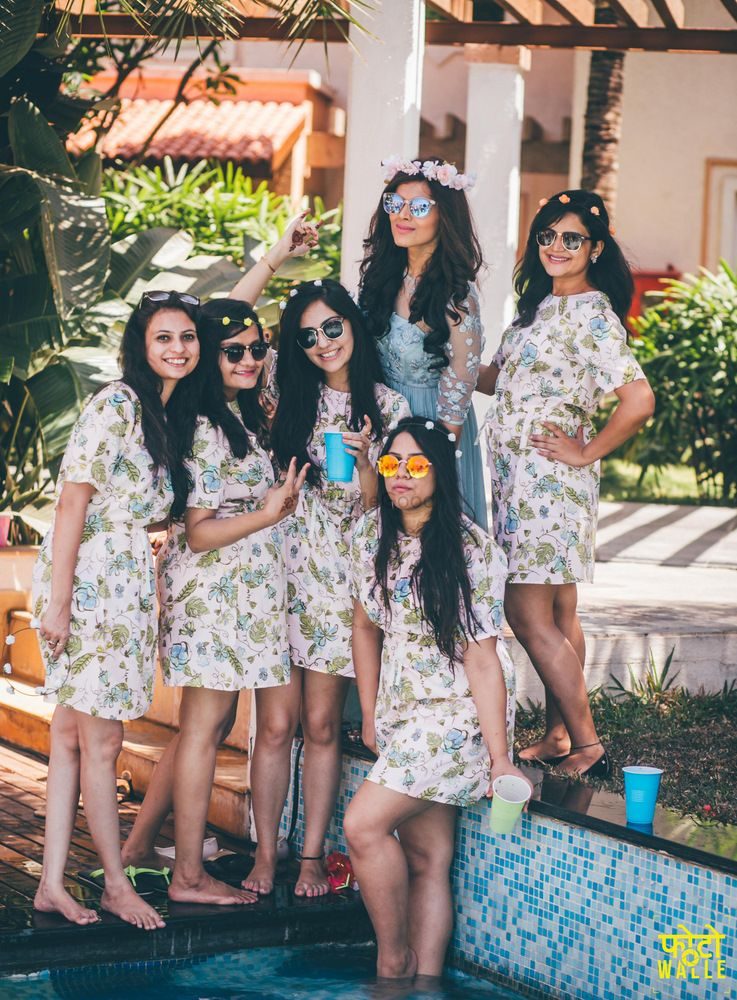 Photo of Matching Bridesmaids at Bachelorette Party in Dresses