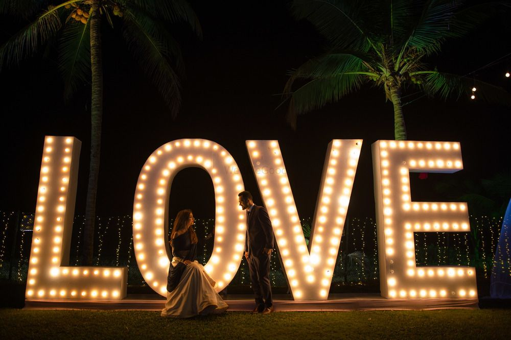 Photo of Giant love prop for sangeet or cocktail