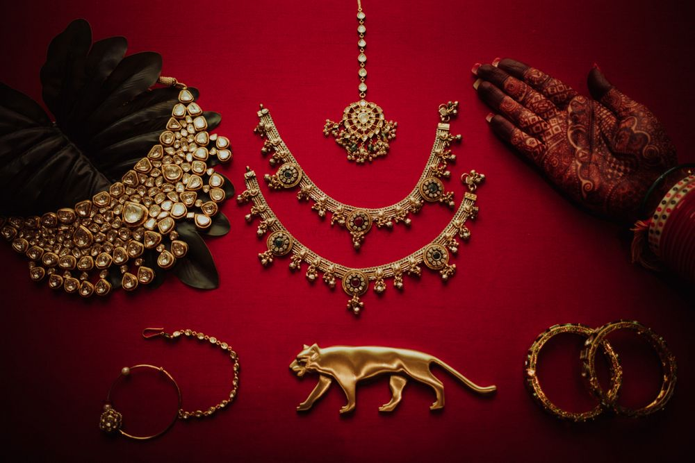 Photo of A flatlay of bridal accessories and jewellery