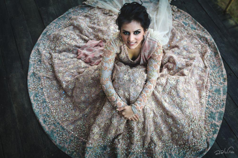 Photo of Bridal portrait idea with Sabyasachi lehenga flared out